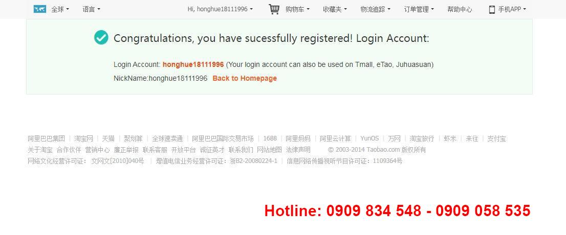 thành công đăng ký