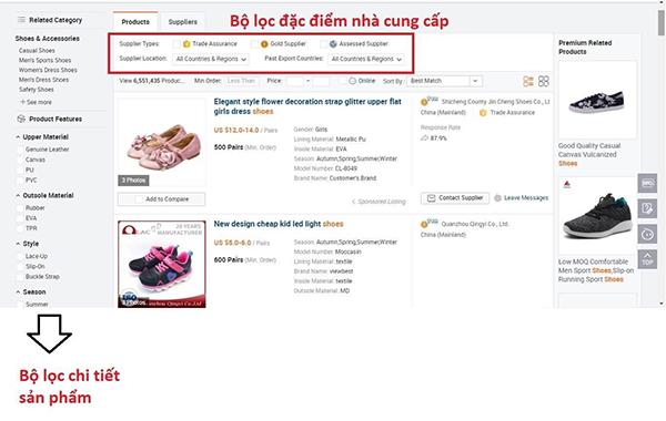 Lọc sản phẩm trên Alibaba