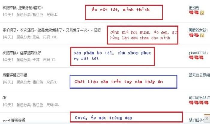 các phản hồi khách hàng taobao