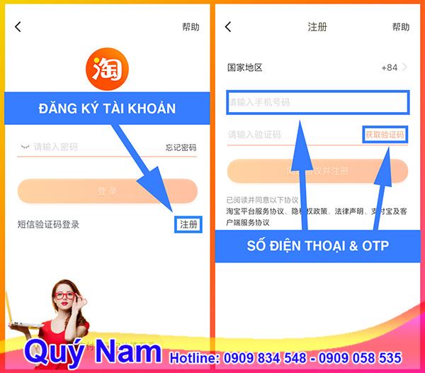 đăng ký taobao điện thoại